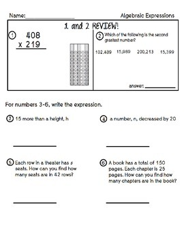 Algebraic Expressions and Equations Practice