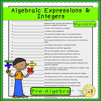 Algebraic Expressions and Integers Matching
