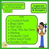 Algebraic Expressions and Integers Pre-Algebra Bundle