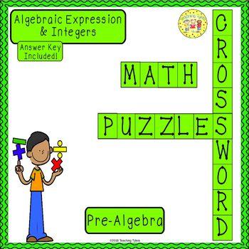 Algebraic Expressions and Integers Pre-Algebra Crossword Puzzle