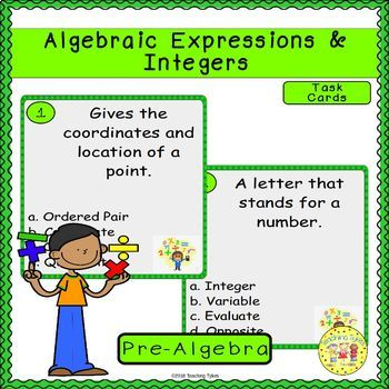 Algebraic Expressions and Integers Pre-Algebra Task Cards