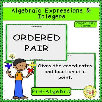 Algebraic Expressions and Integers Pre-Algebra Vocabulary Cards