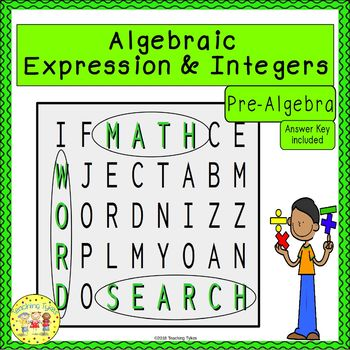 Algebraic Expressions and Integers Word Search