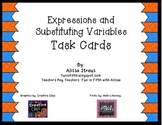 Algebraic Expressions and Substituting Variables Task Cards