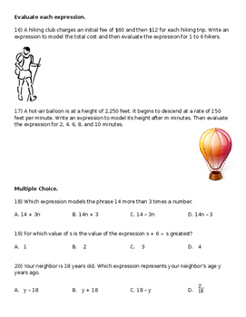 Algebraic Expressions and the Order of Operations Review Worksheet