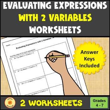 Algebraic Expressions with 2 Variables Worksheet