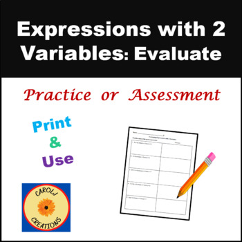 Algebraic Expressions with 2 Variables Worksheet
