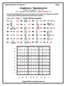 Algebraic Expressions:  Evaluating with Exponents Sudoku