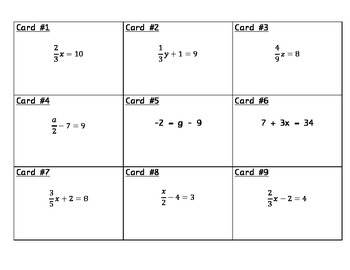 Algebraic Expressions with Fractions Task Cards