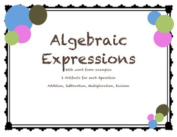 Algebraic Expressions with Written Translations