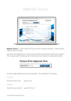 Algebraic Factors Instruction Leaflet