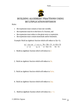 Algebraic Fractions Activity - Multiplication and Division