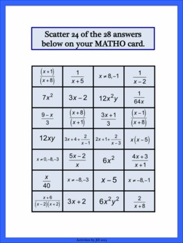 Algebraic Fractions (Rational Expressions) MATHO