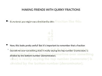 Algebraic Fractions handout with practice questions
