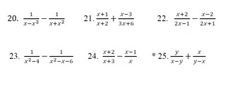 Algebraic Fractions with Solutions See details below