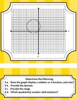 Algebraic Functions Task Card Set - Great unit or STAAR Review
