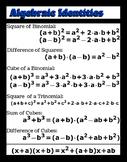 "Algebraic Identities - Classroom Poster 11"" x 14"""