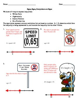 Algebraic Inequalities and Notation Real World Applications Worksheet