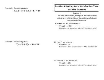 Algebraic Linear Equations Unit Booklet