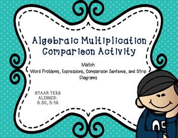 Algebraic Multiplication Comparison Activity - TEKS Aligned 3.5C, 3.4K