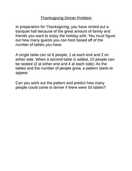Algebraic Patterns: Dinner Seating Pattern
