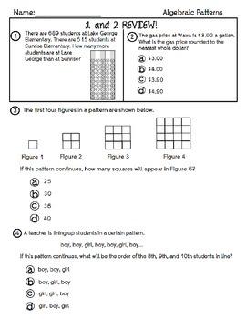 Algebraic Patterns Practice
