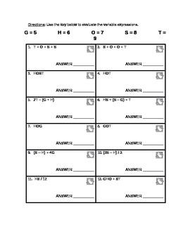 Halloween Theme Algebraic Practice - Variables