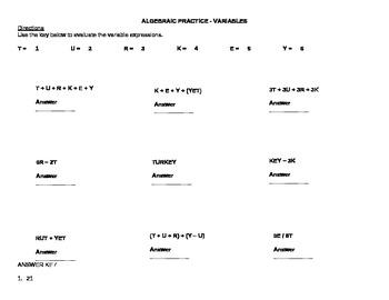 Thanksgiving Theme Algebraic Practice - Variables