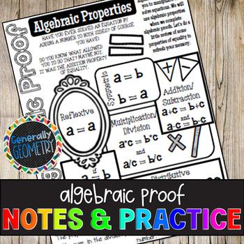 Algebraic Proof Doodle Notes Practice Worksheet Geometry Tpt