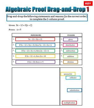 Algebraic Proof Drag-and-Drop Challenges