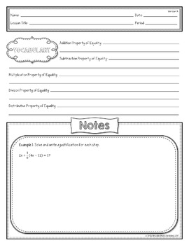 Algebraic Proofs Lesson Materials (Guided Notes, Classwork, & Homework)