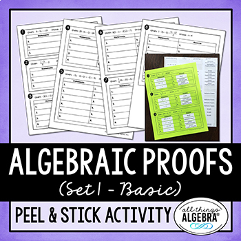 Algebraic Proofs Peel and Stick Activity