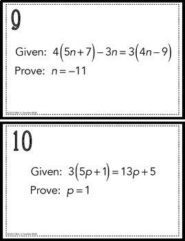 Algebraic Proofs Task Cards