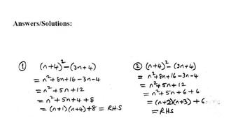 Algebraic Proofs with Solutions/Answers