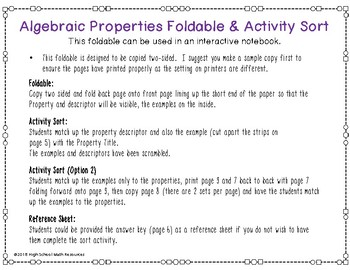 Algebraic Properties Activity Sort