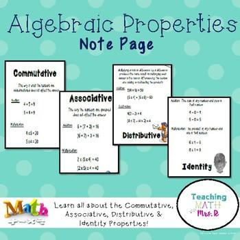 Algebraic Properties Associative Commutative Distributive NOTES