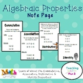 Algebraic Properties Associative Commutative Distributive NOTES
