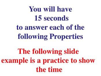 Algebraic Properties BUNDLE of 10  (PowerPoint Warm Ups or Quizzes)