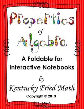Algebraic Properties Printable Foldable for Interactive Notebooks MS & HS Math
