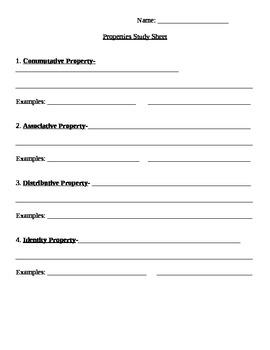 Algebraic Properties Study Sheet