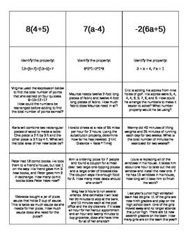 Algebraic Properties Tic-Tac-Toe Cards