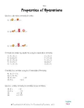 Algebraic Properties Worksheet
