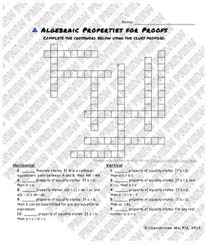 Algebraic Properties for Proofs Crossword Puzzles {Five Versions}