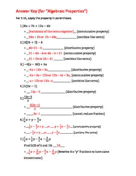 Algebraic Properties practice/review