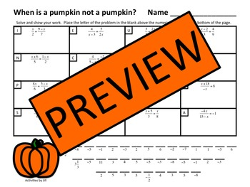 Algebraic Proportions Pumpkin Riddle