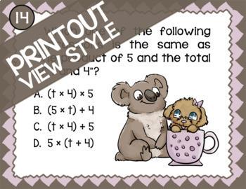 Algebraic Reasoning ★ TEK 4.5A 4.5B 4.5C & 4.5D ★ 4th Grade TEKS Math Task Cards
