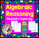 Algebraic Reasoning Practice Worksheet with Tables Solving Algebra Word Problems