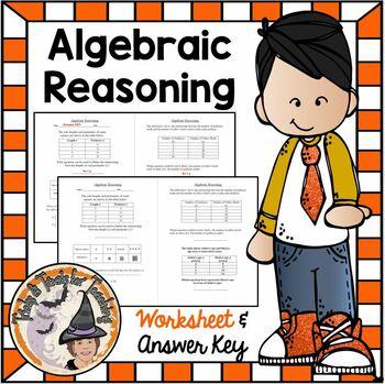 Algebraic Reasoning Practice Worksheet with Tables Solving