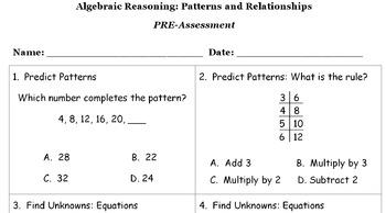 Algebraic Reasoning Pre and Post Assessments or Worksheets