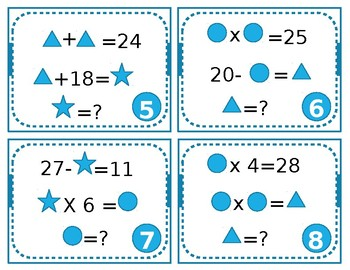 Algebraic Reasoning Task Cards- Number Sense Puzzles